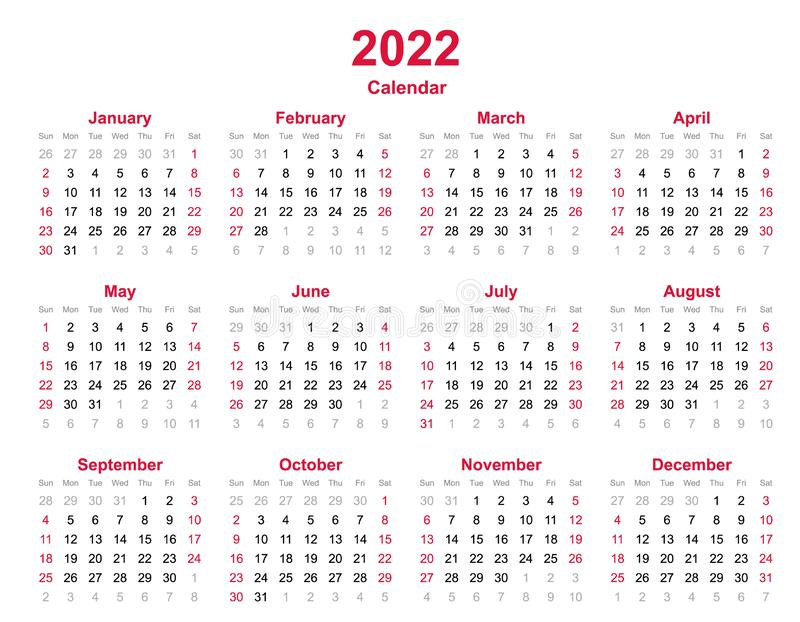 2022 Printable Calendar Yearly Templates - Pdf, Word, Excel
