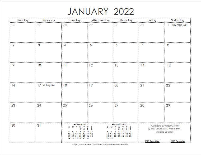 2022 Printable Yearly Calendar