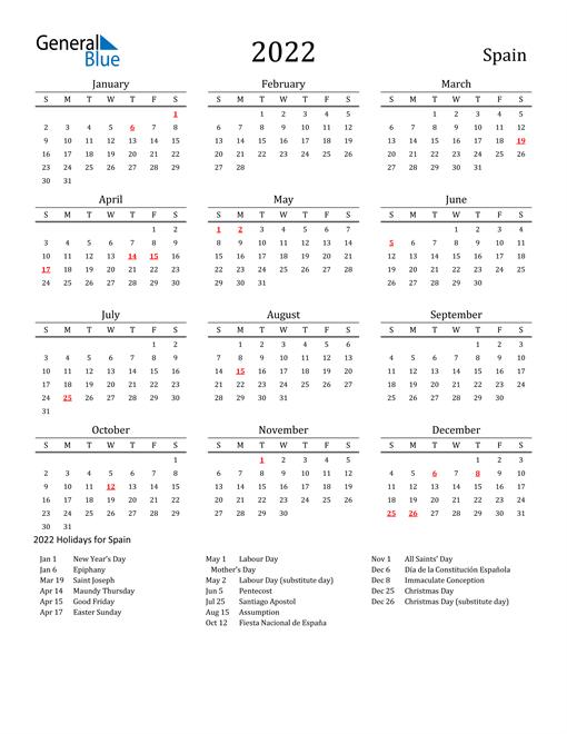 2022 Spain Calendar With Holidays