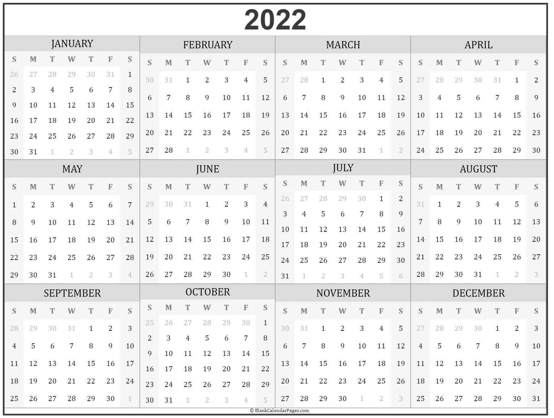 2022 Year Calendar
