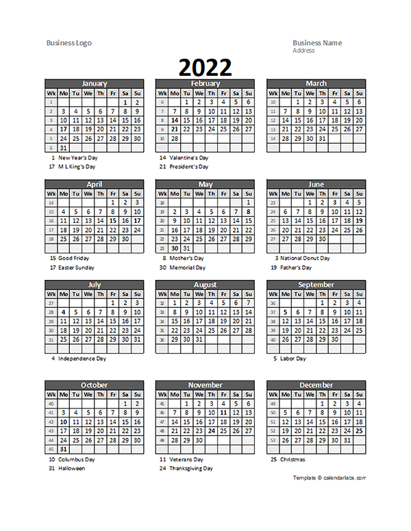 2022 Yearly Business Calendar With Week Number - Free