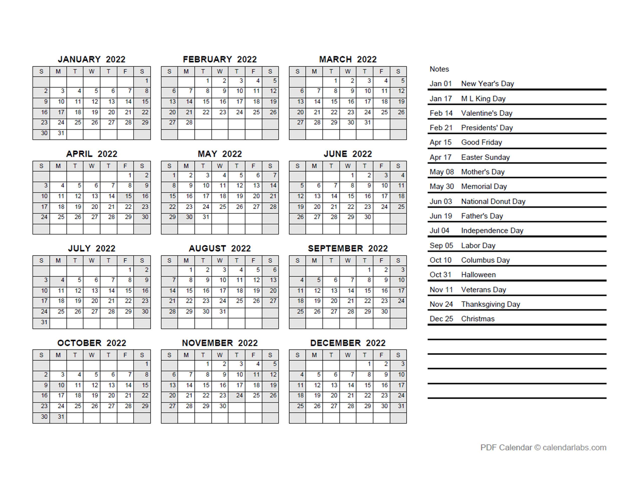 2022 Yearly Calendar Pdf - Free Printable Templates