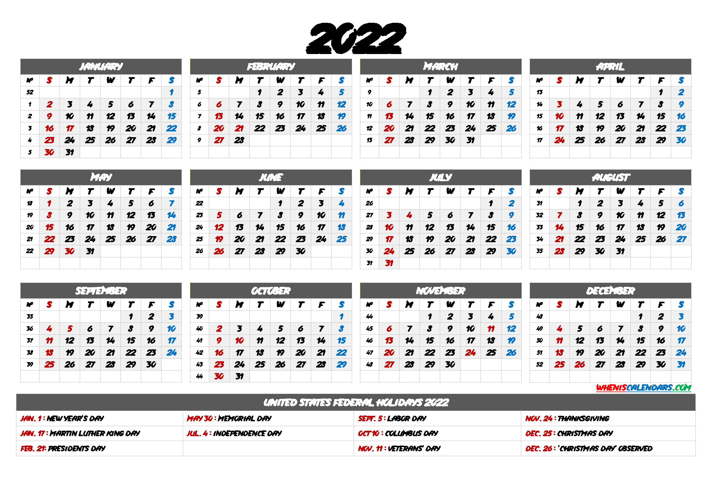 2022 Yearly Calendar Template Word - 6 Templates