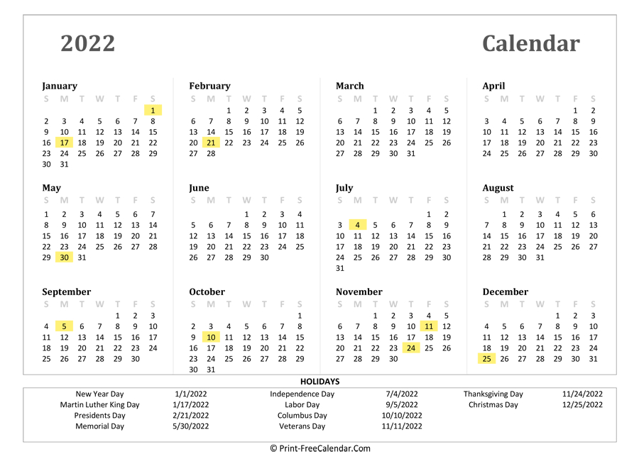 2022 Yearly Calendar With Holidays (Landscape Layout)