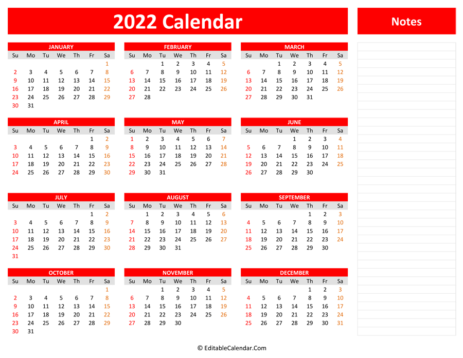 2022 Yearly Calendar With Notes