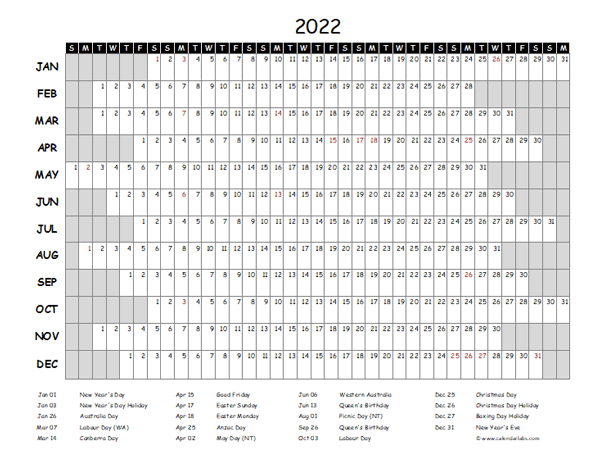 2022 Yearly Project Timeline Calendar Australia - Free