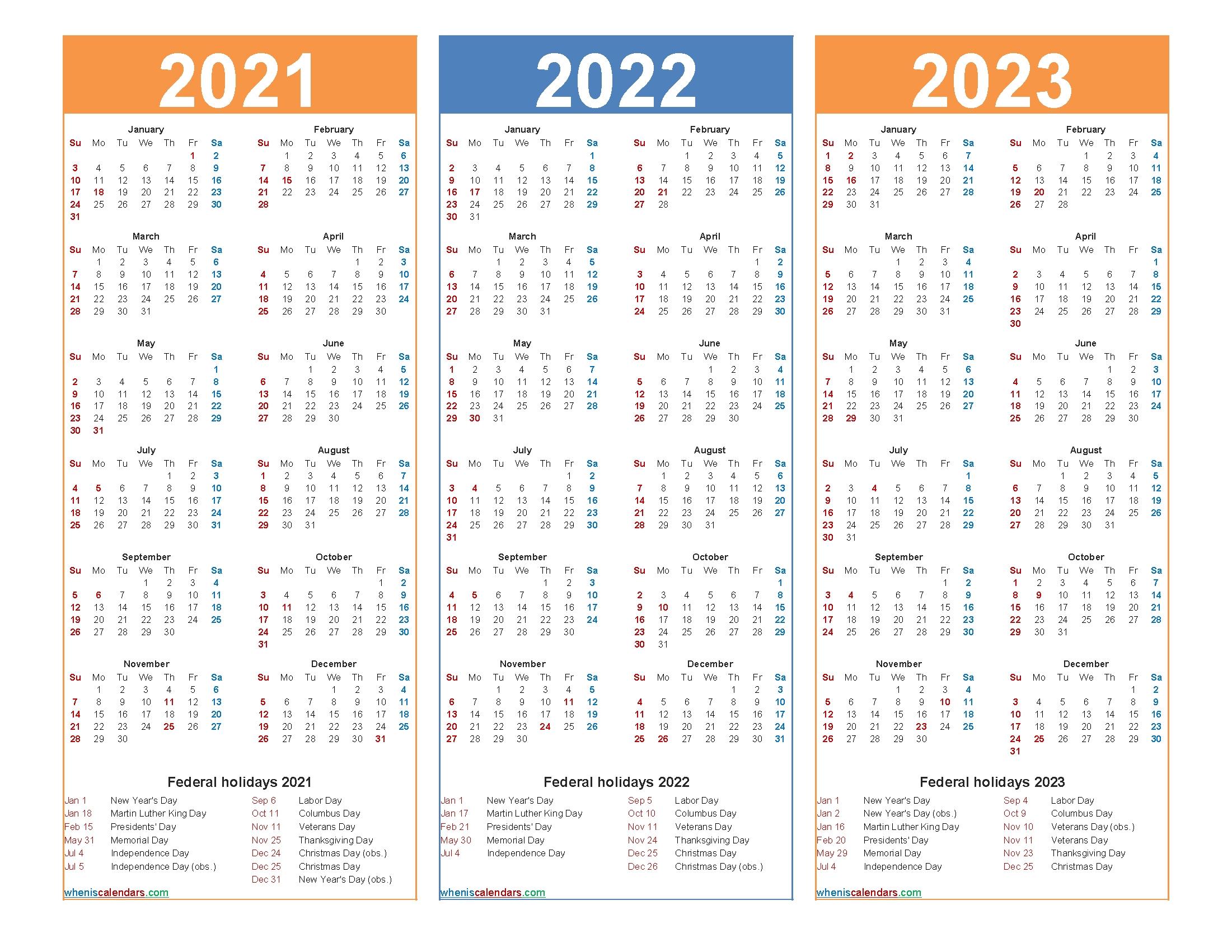3 Year Calendars 2021 2022 2023 Free Printable