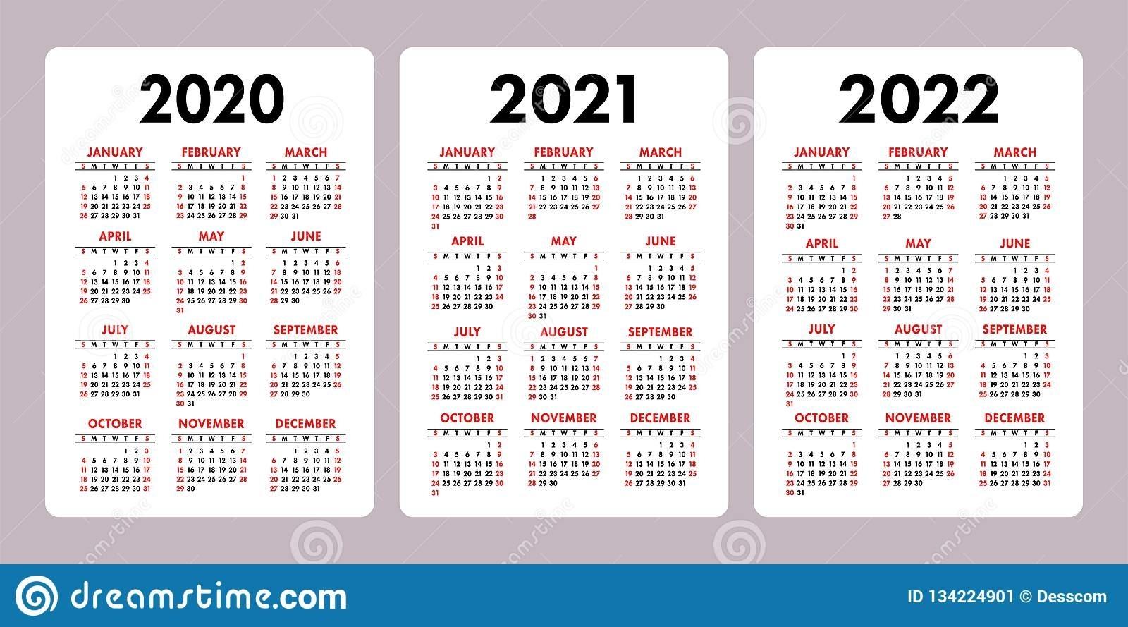 4 Year Calendar 2020 To 2022