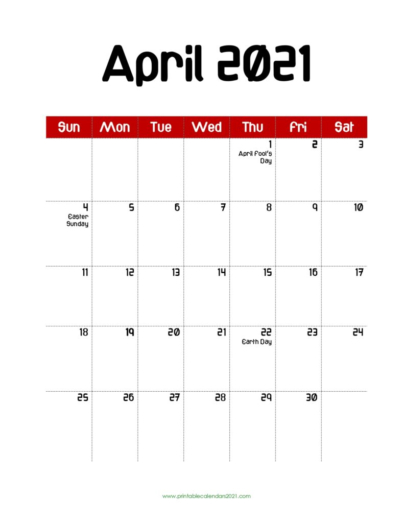 65+ April 2021 Calendar Printable With Holidays, Blank