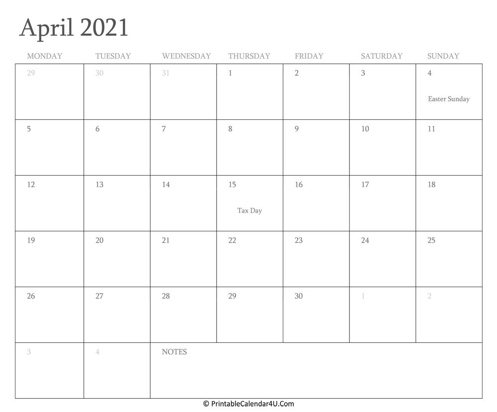 April 2021 Calendar Printable With Holidays