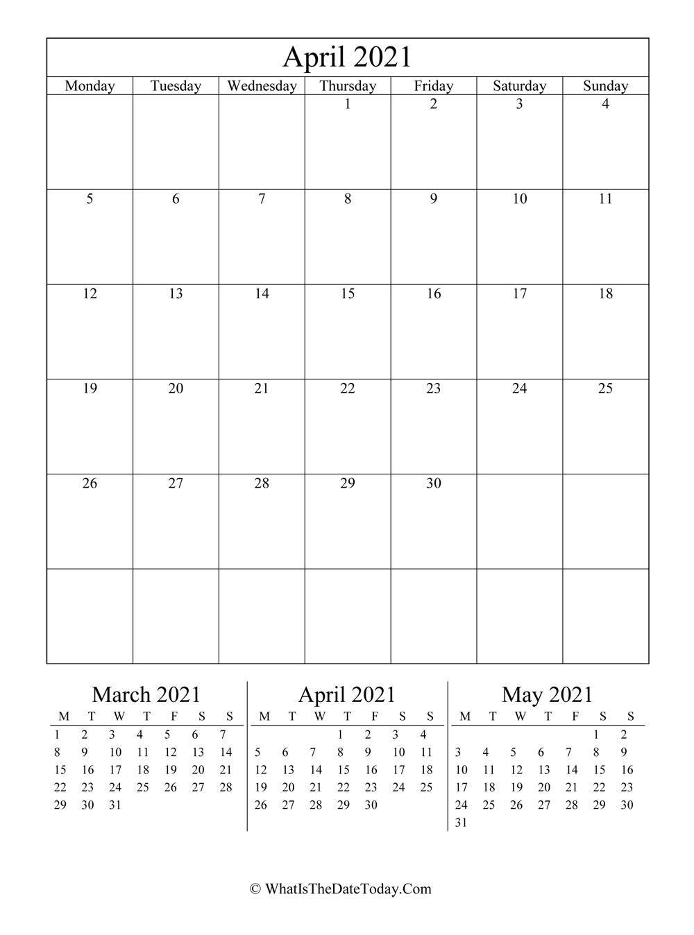 April 2021 Editable Calendar (Vertical Layout