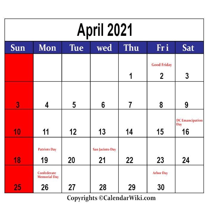 April 2021 Holidays - Calendarwiki