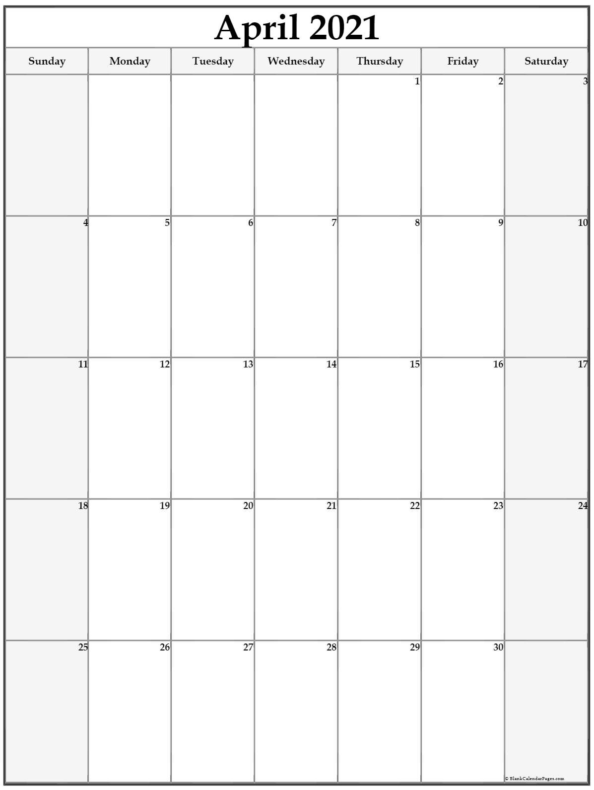 April 2021 Vertical Calendar
