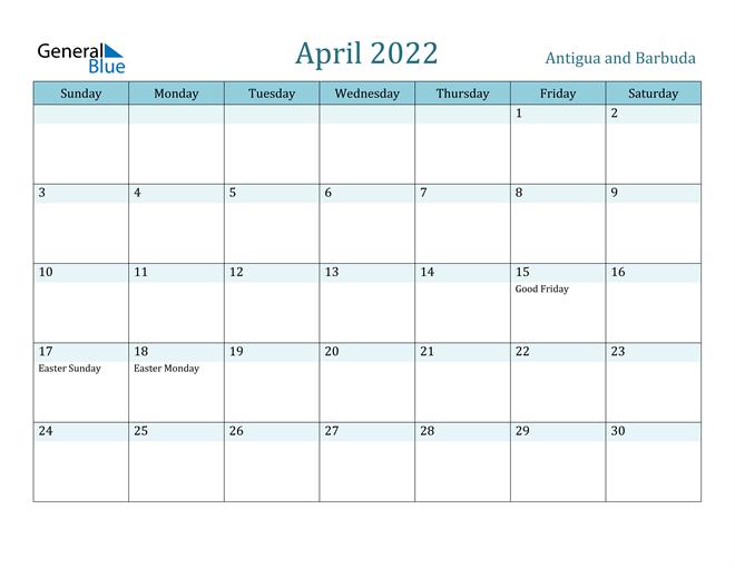 April 2022 Calendar - Antigua And Barbuda