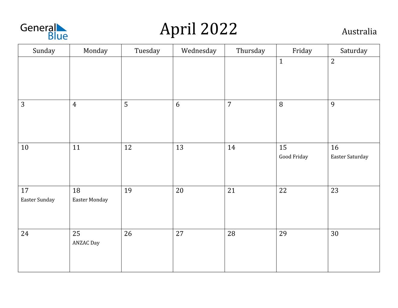 April 2022 Calendar - Australia
