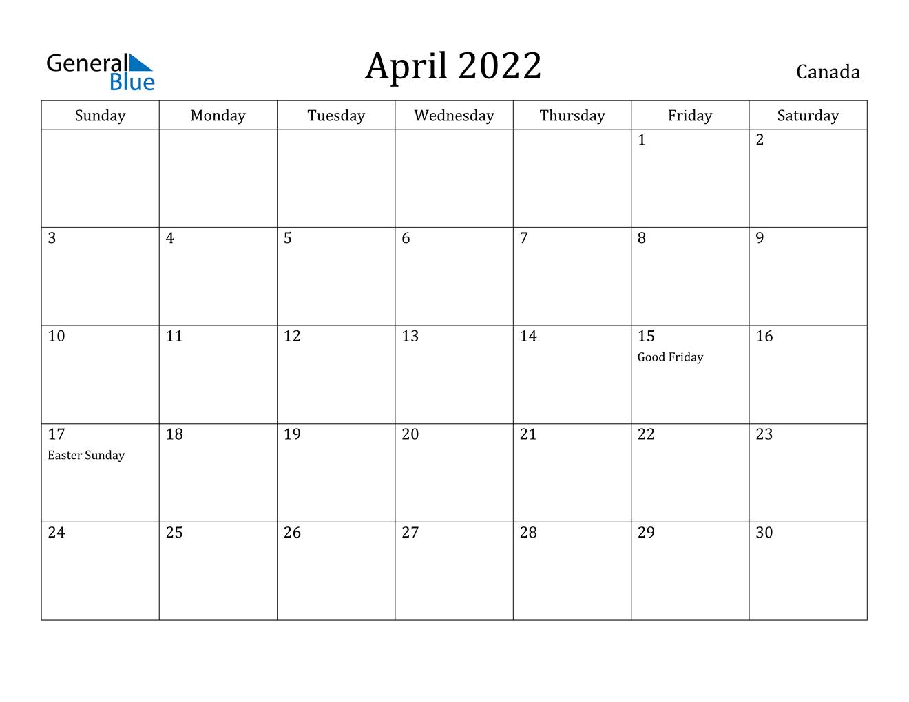 April 2022 Calendar - Canada