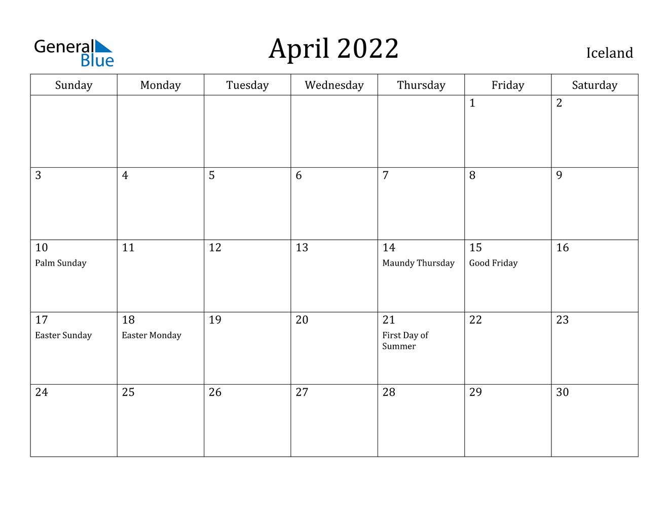 April 2022 Calendar - Iceland