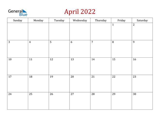 April 2022 Calendar Image