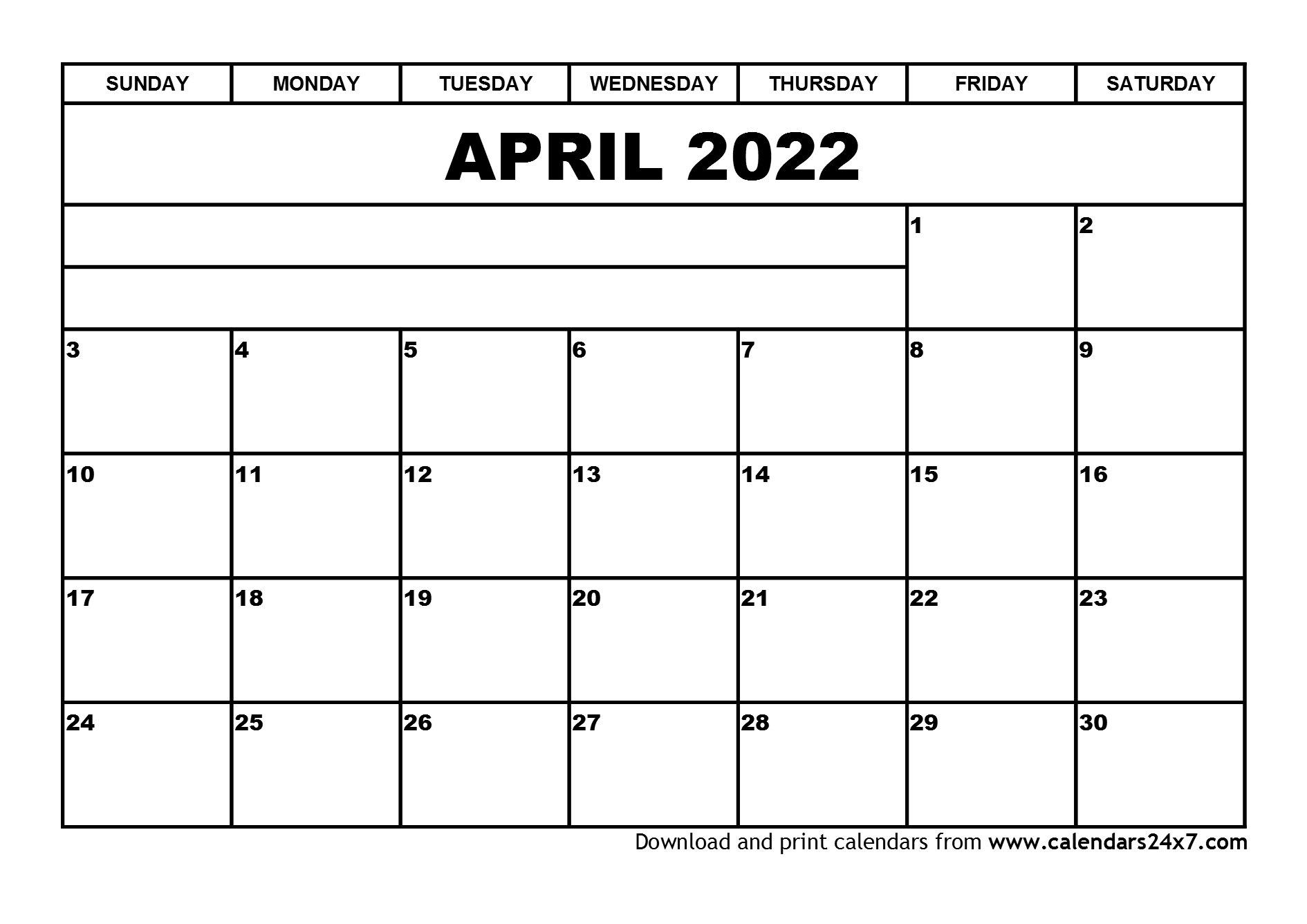 April 2022 Calendar & May 2022 Calendar