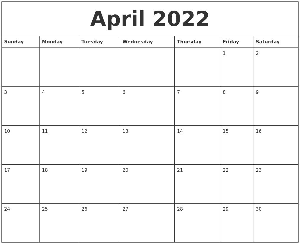 April 2022 Calendar Pages
