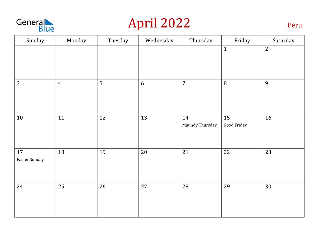 April 2022 Calendar - Peru