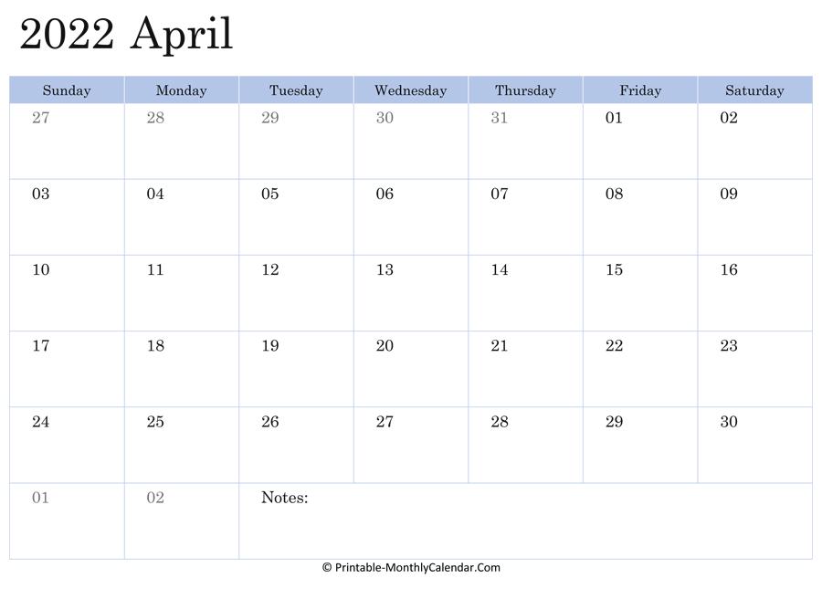 April 2022 Calendar Printable With Holidays