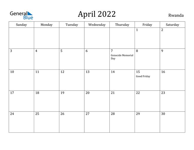 April 2022 Calendar - Rwanda