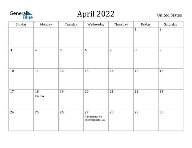 April 2022 Calendar - United States
