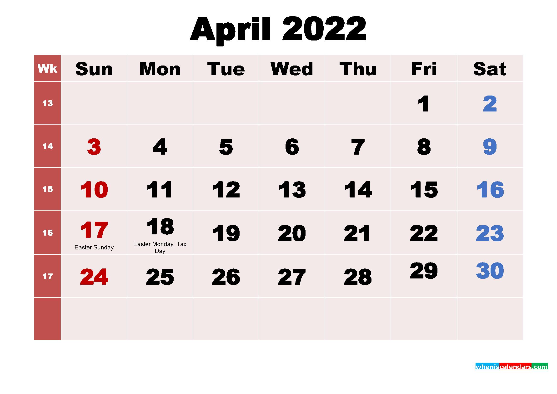 April 2022 Calendar With Holidays Usa