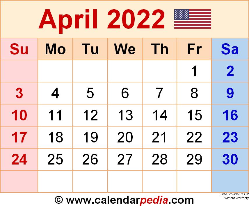 April 2022 Calendar