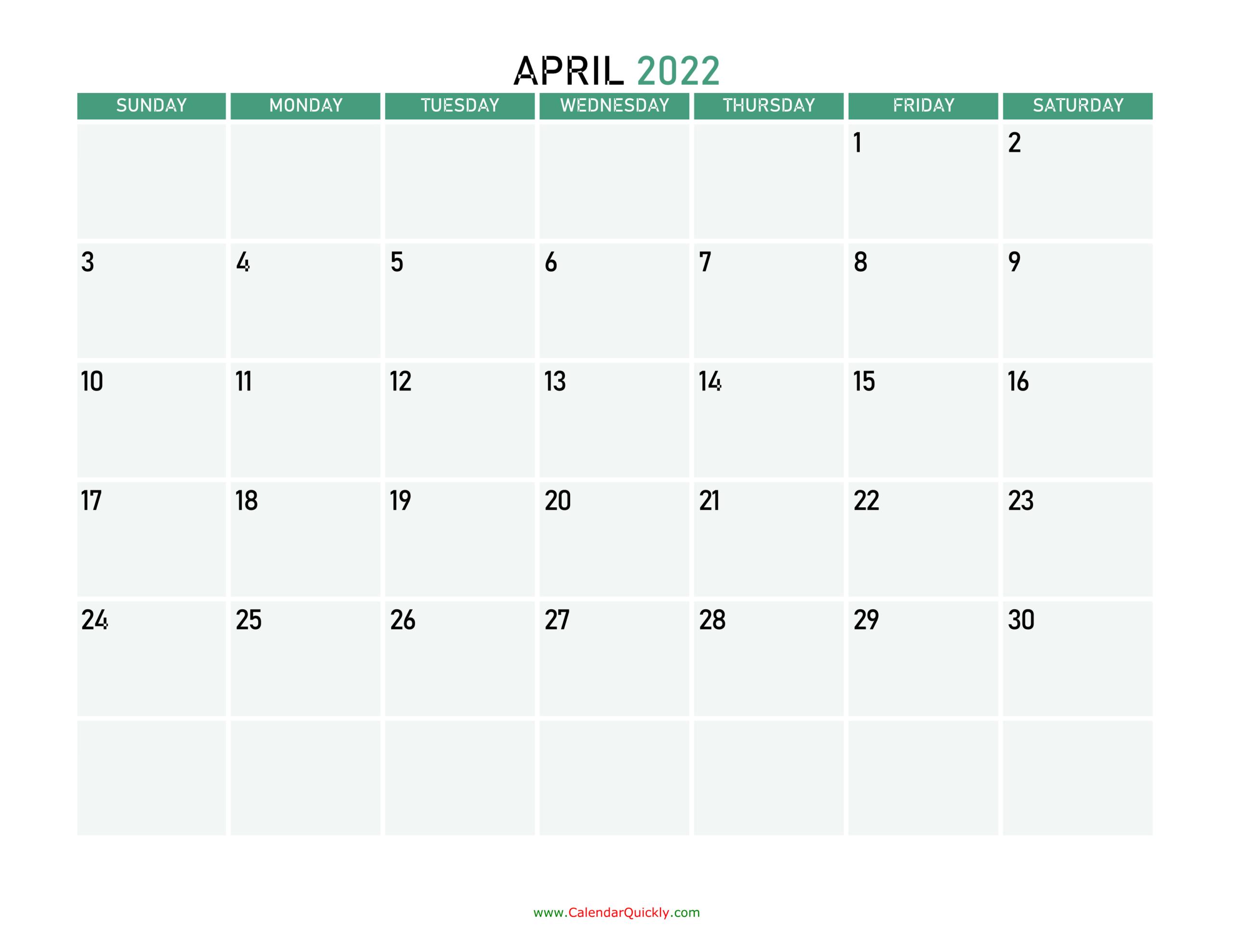 April 2022 Calendars