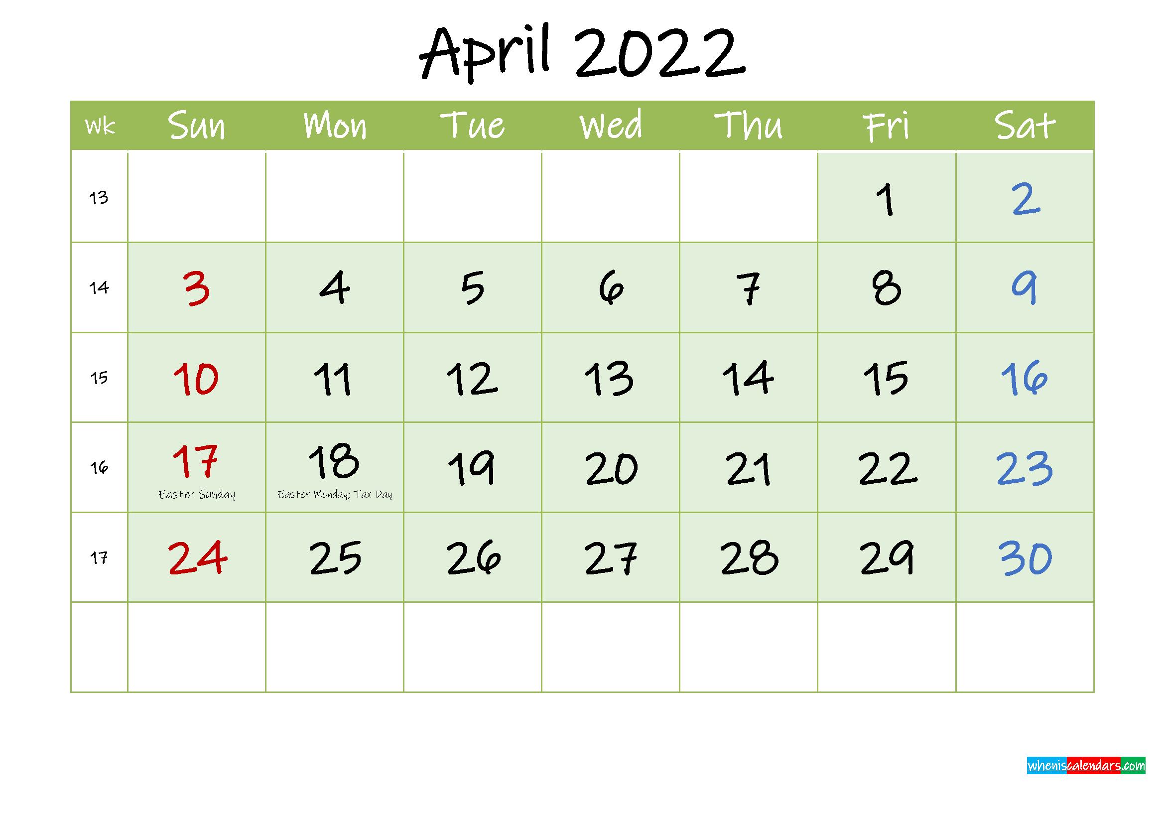 April 2022 Free Printable Calendar - Template Ink22M124
