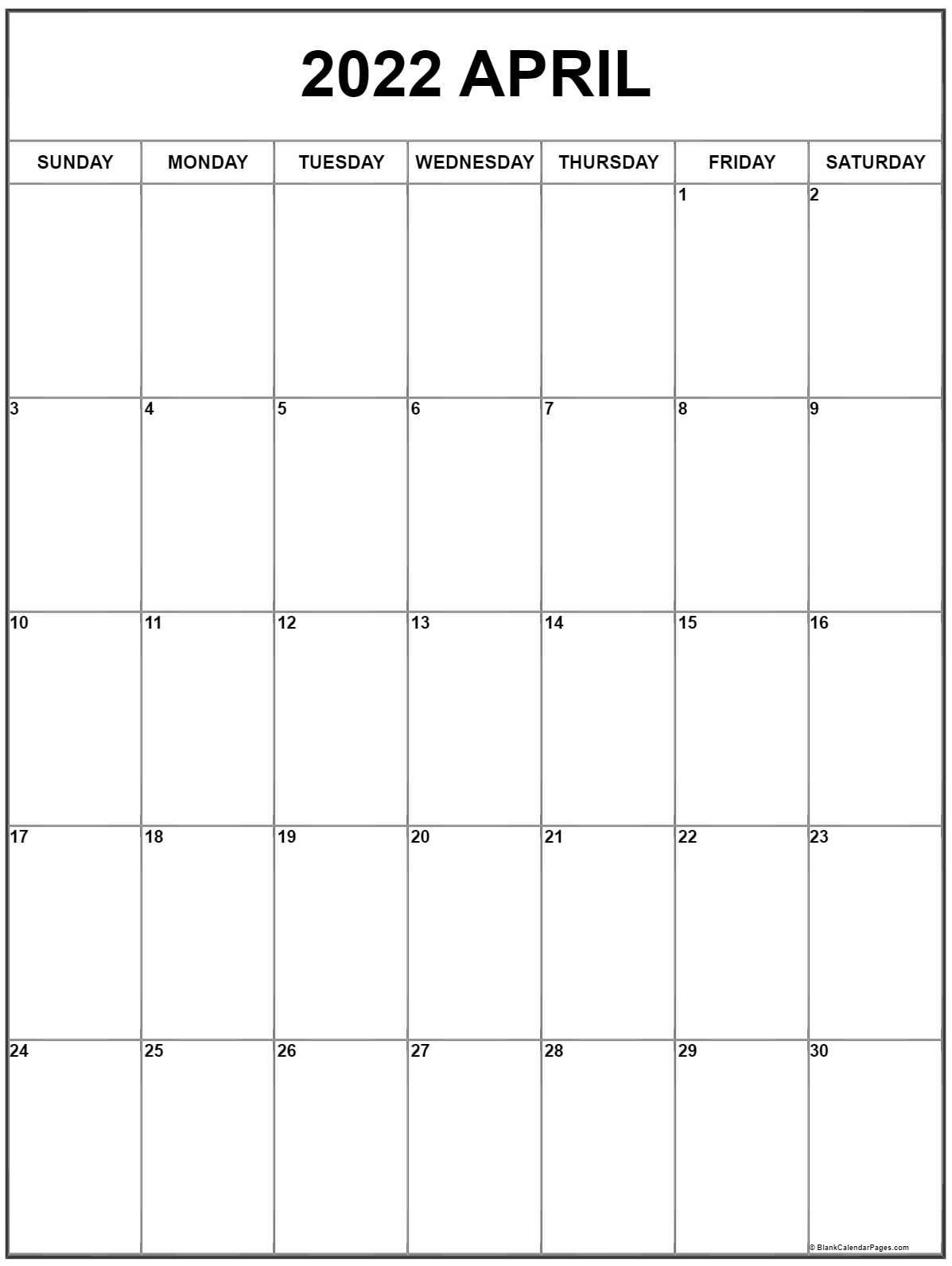 April 2022 Vertical Calendar