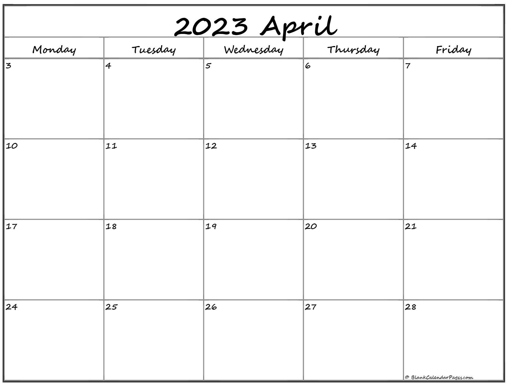April 2023 Monday Calendar