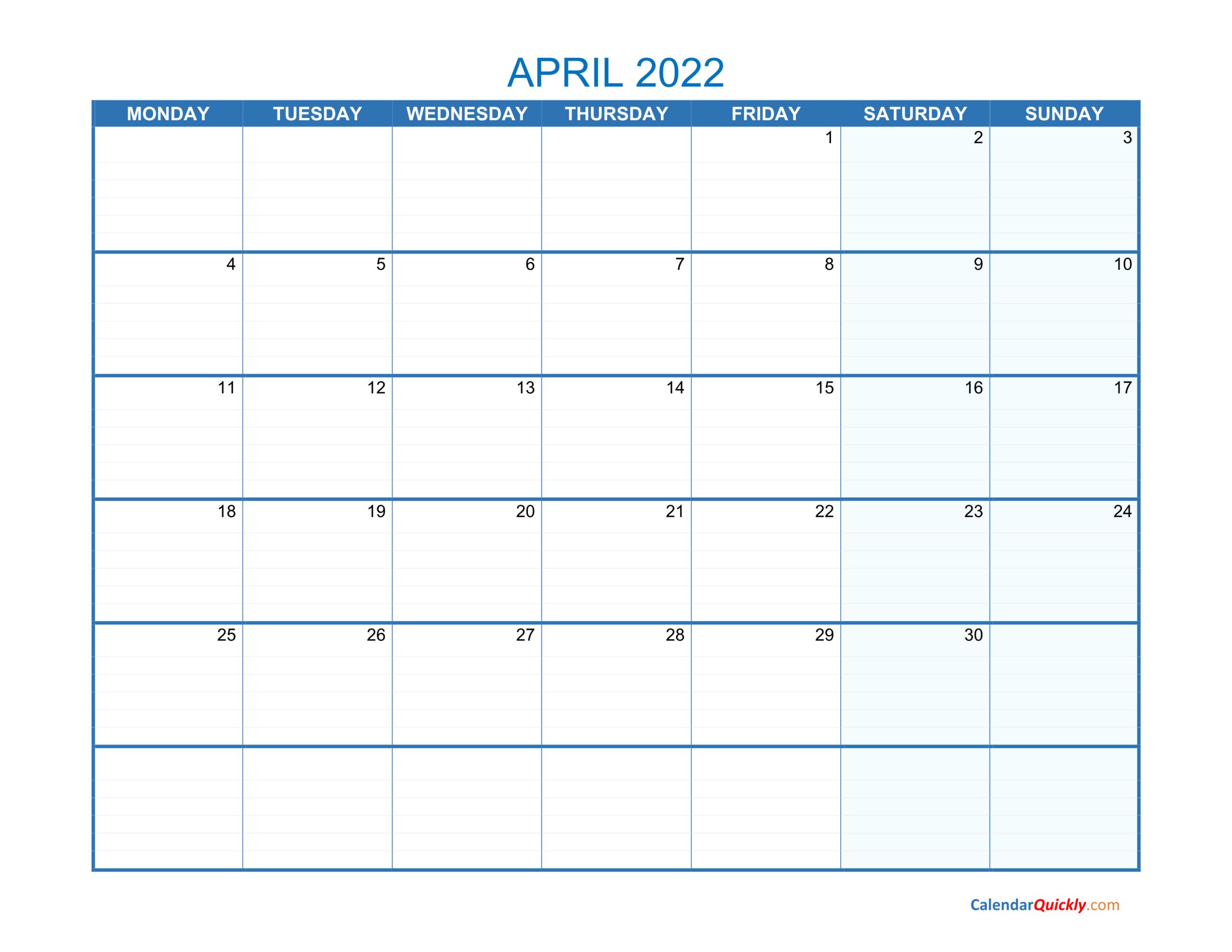 April Monday 2022 Blank Calendar