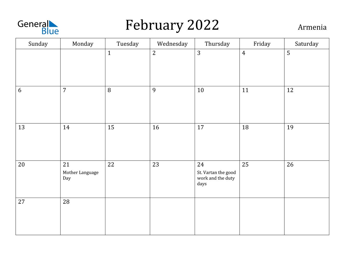 Armenia February 2022 Calendar With Holidays