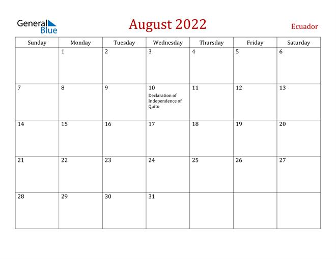 August 2022 Calendar - Ecuador