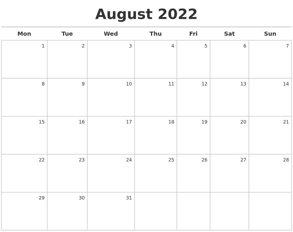 August 2022 Calendar Maker