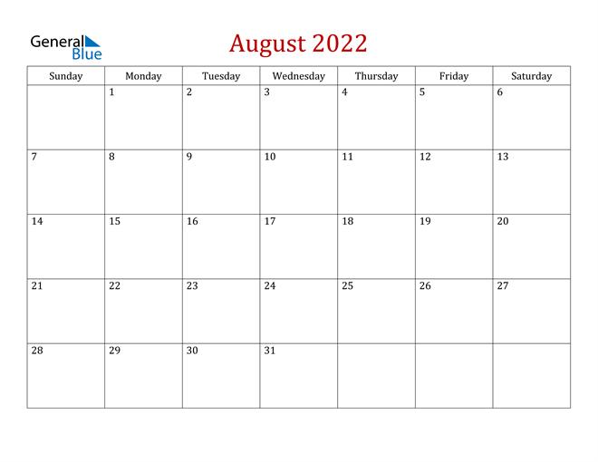 August 2022 Calendar (Pdf Word Excel)