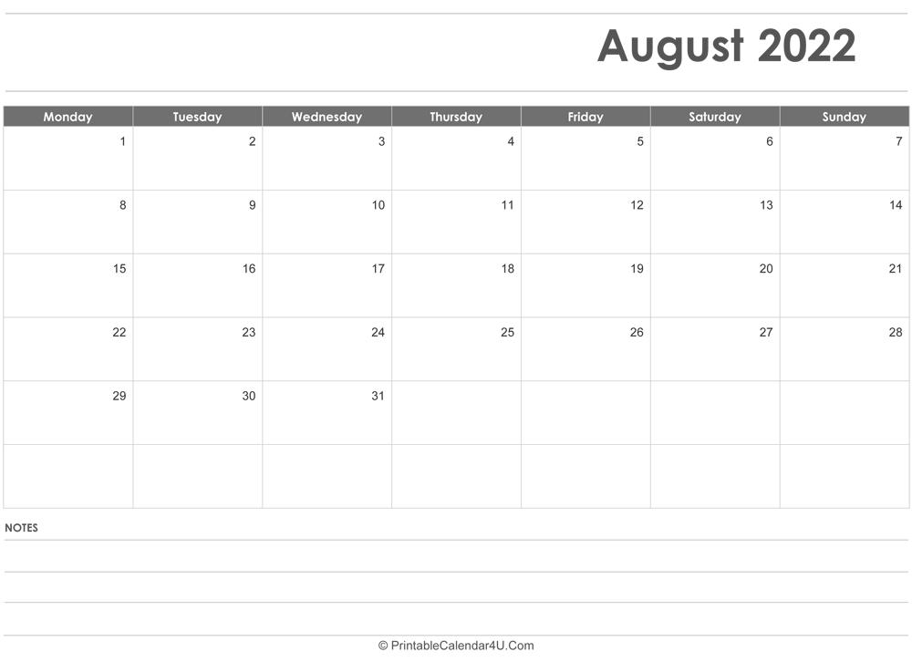 August 2022 Calendar Templates