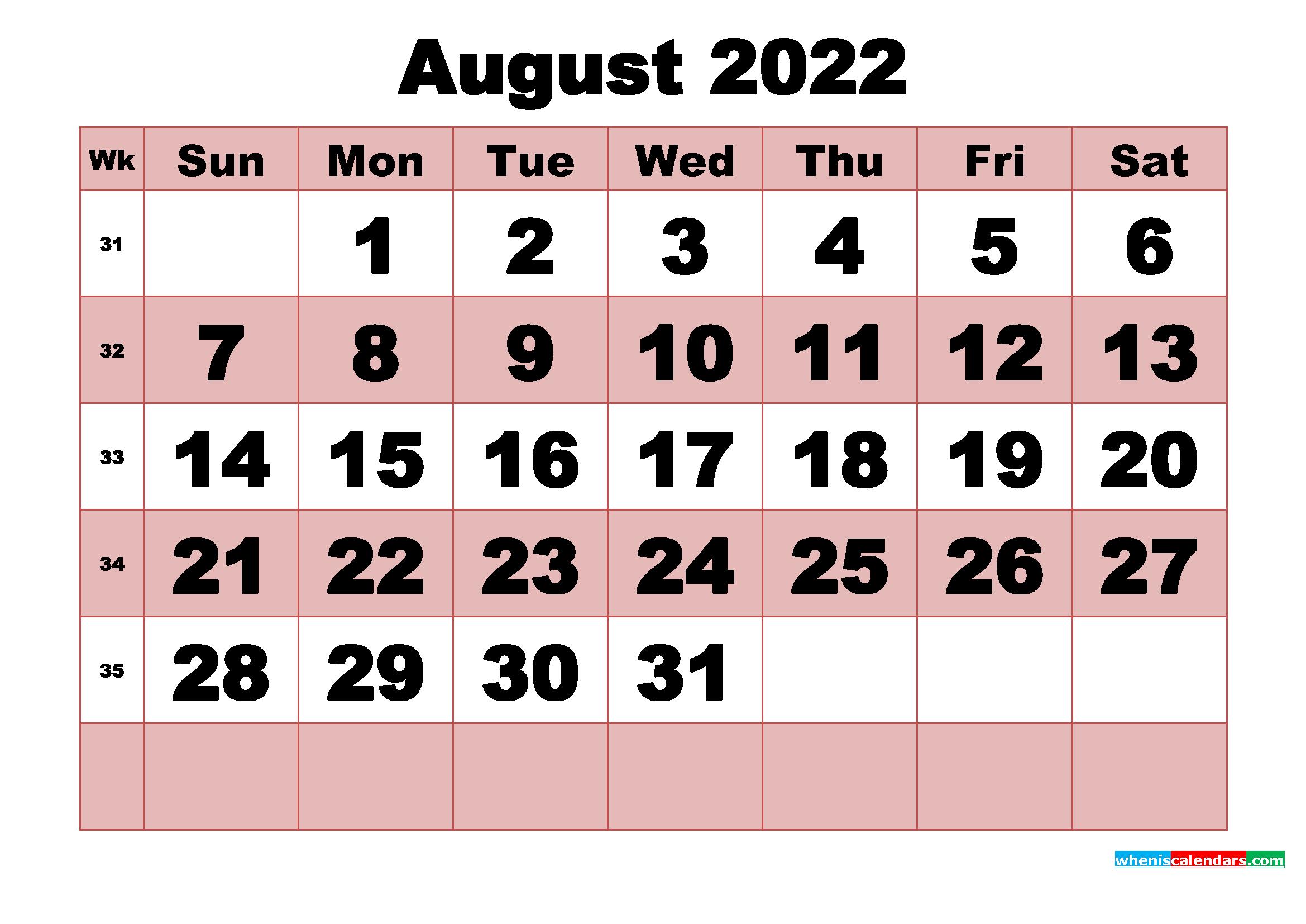 August 2022 Hindu Calendar
