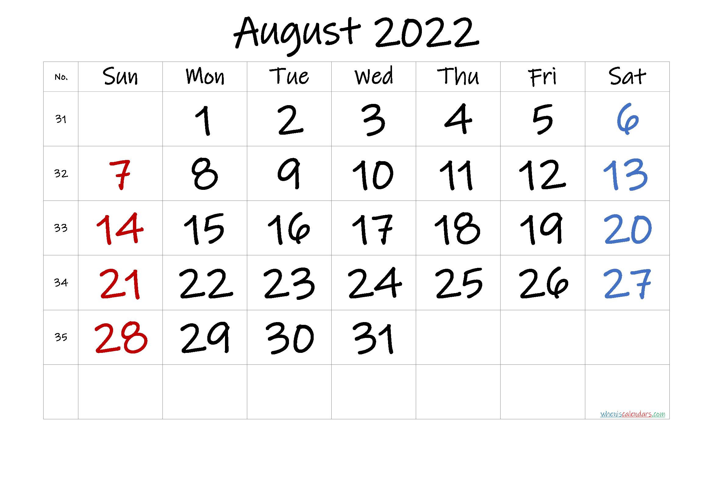 August 2022 Printable Calendar With Holidays - 6 Templates