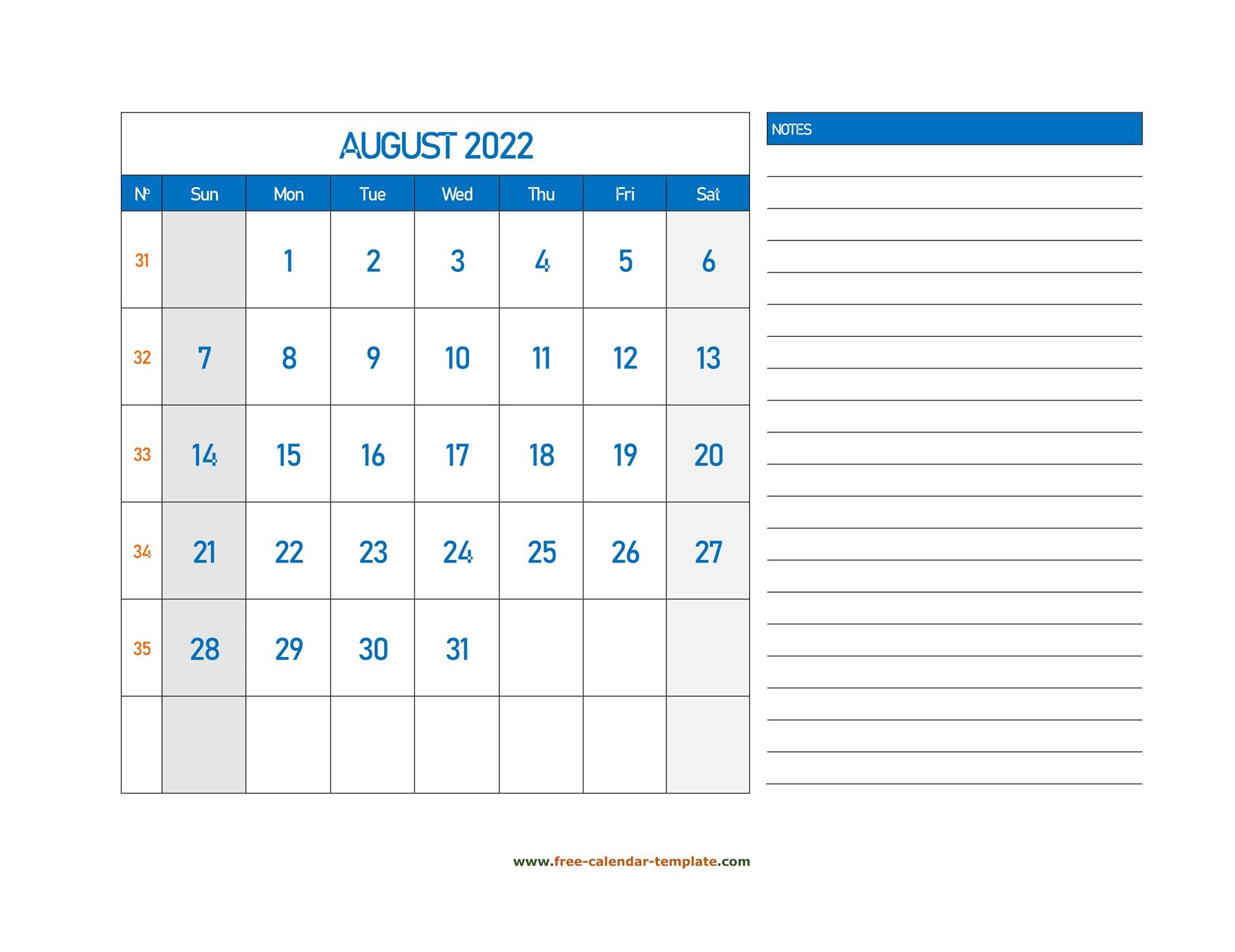 August Calendar 2022 Grid Lines For Holidays And Notes