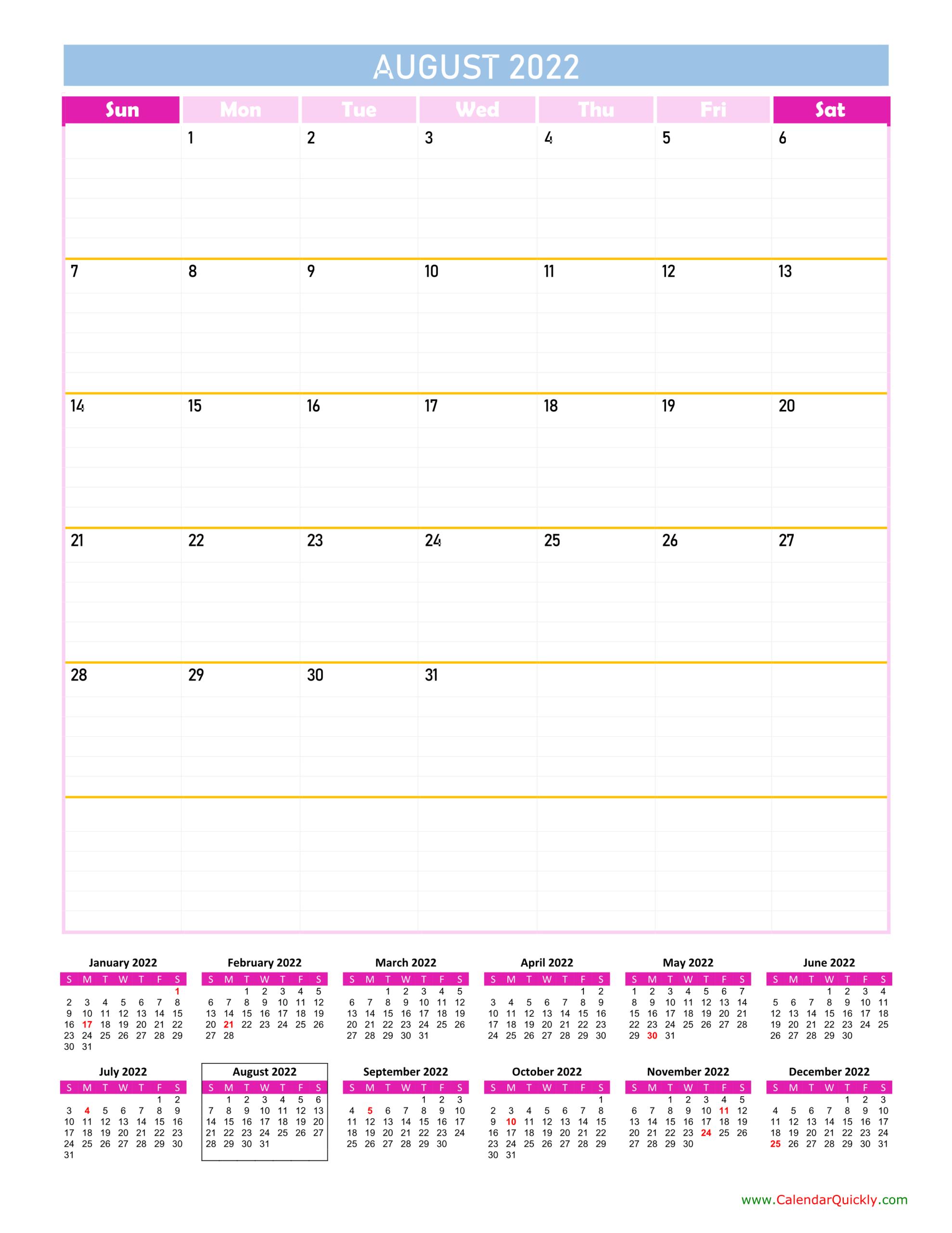 August Calendar 2022 Vertical
