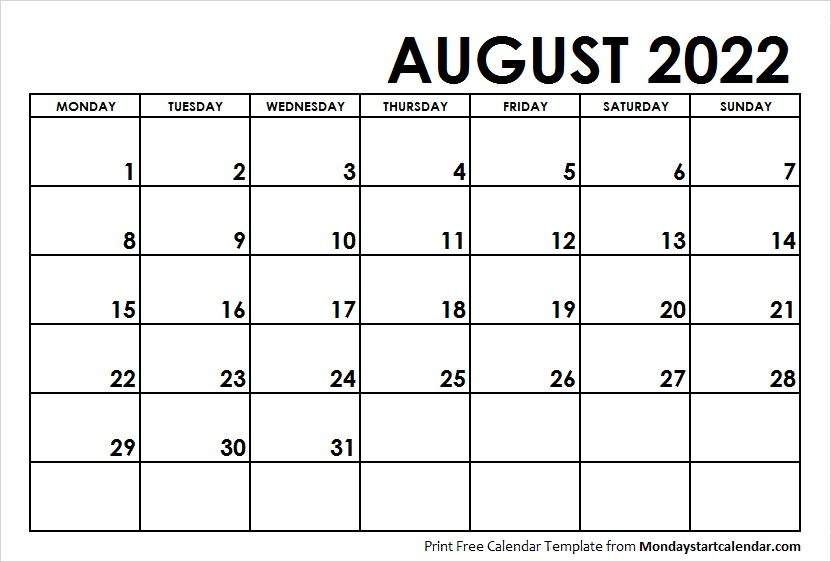 August Month Template