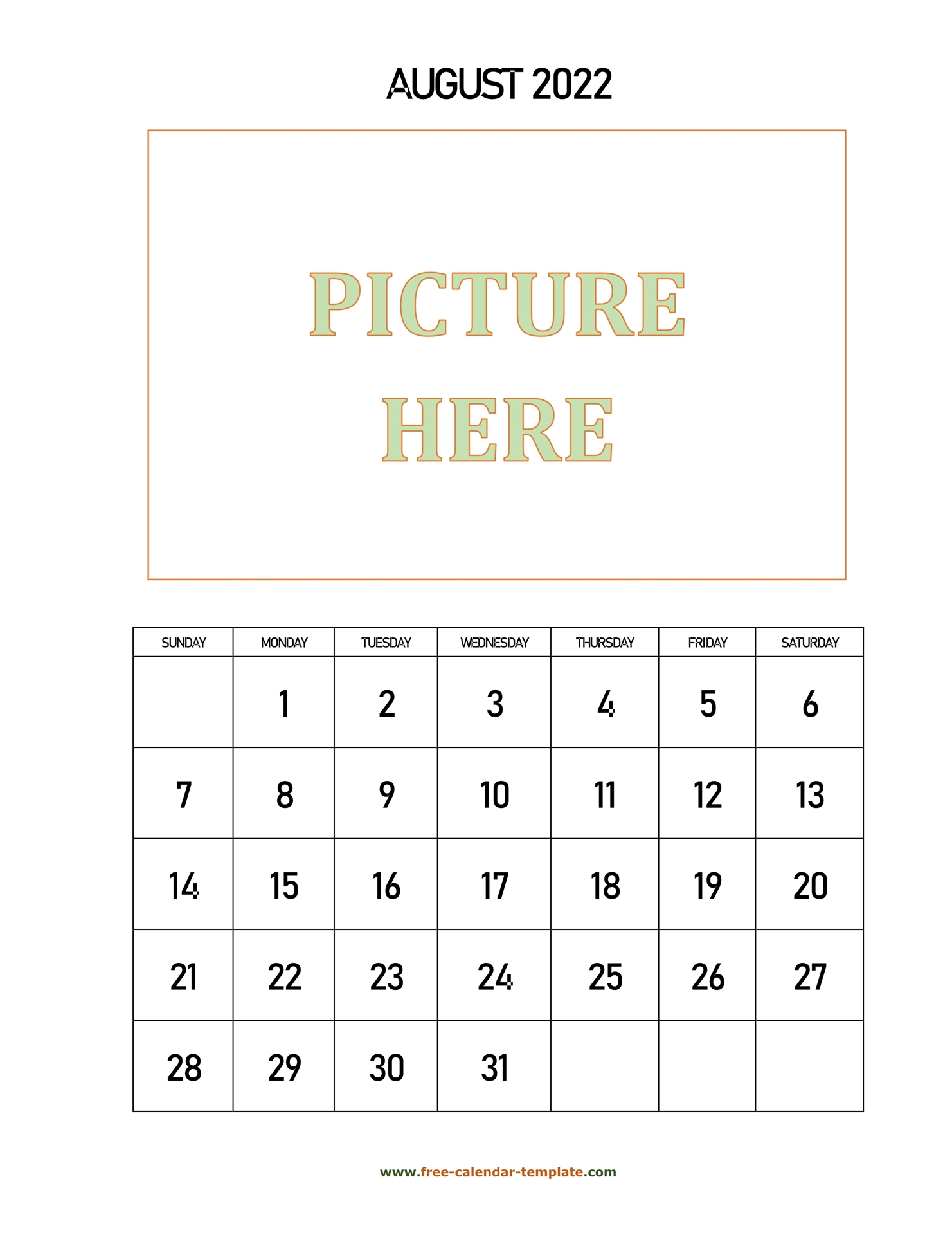 August Printable 2022 Calendar, Space For Add Picture
