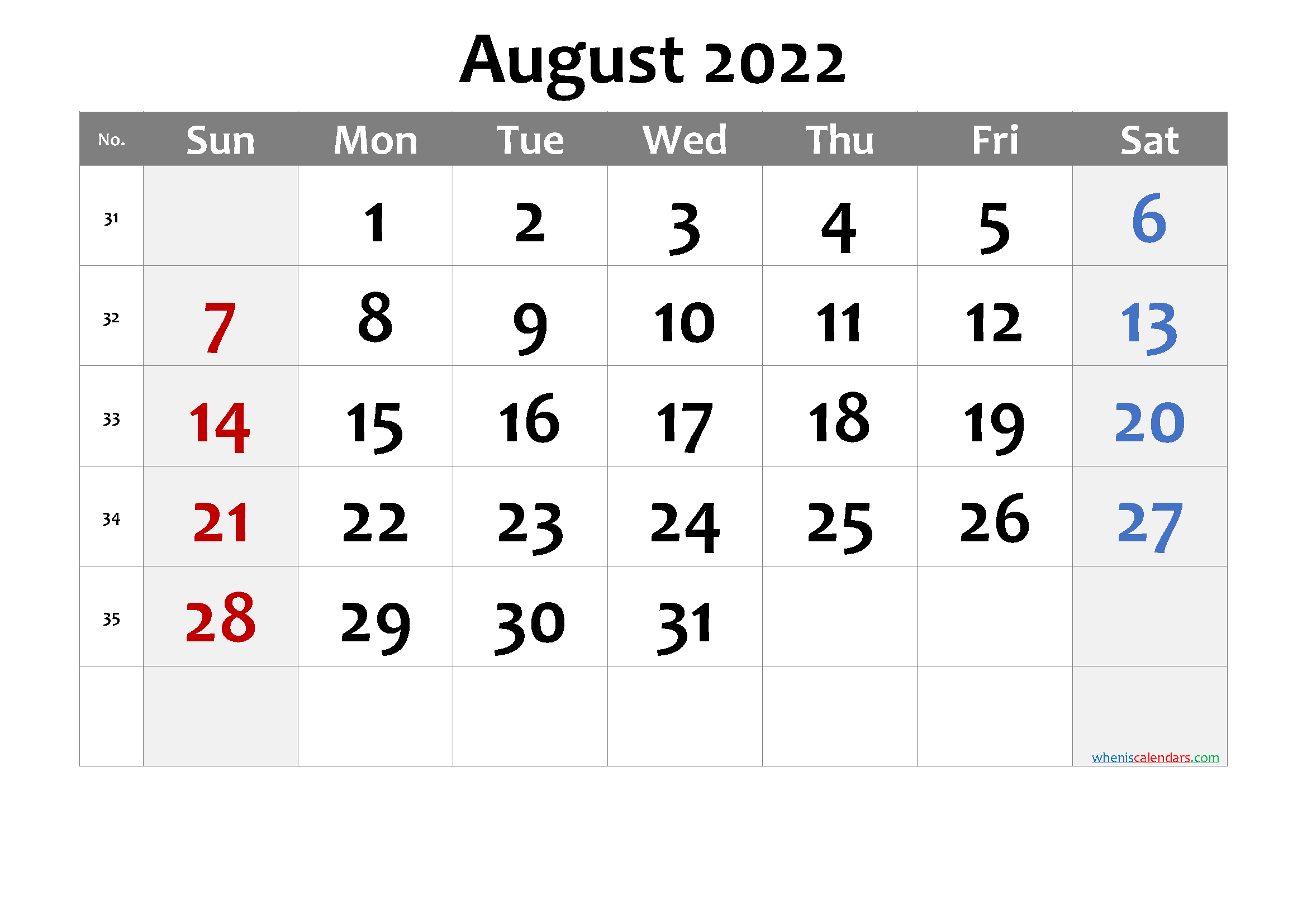 August September 2022 Calendar