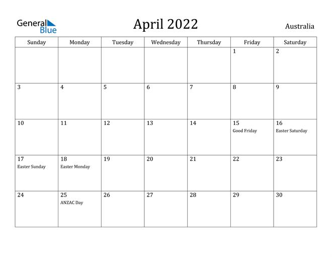 Australia April 2022 Calendar With Holidays