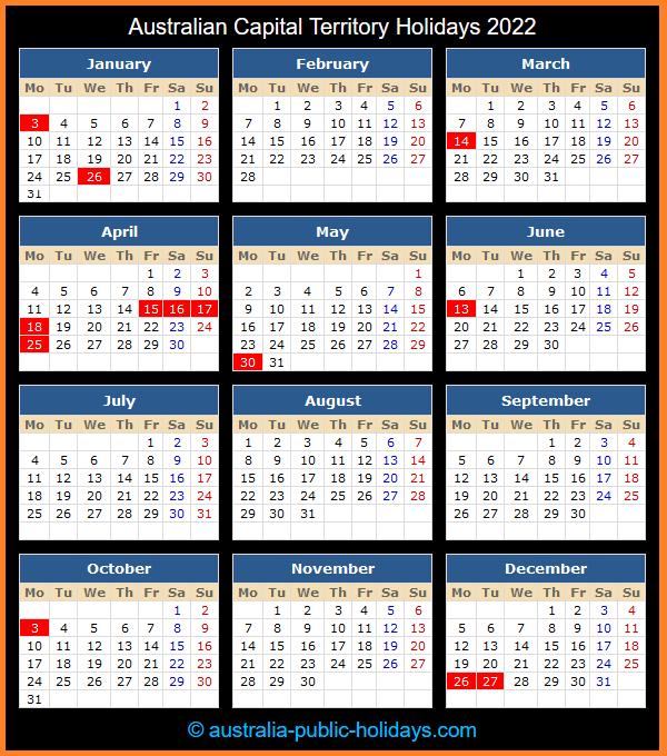 Australian Capital Territory Holidays 2022