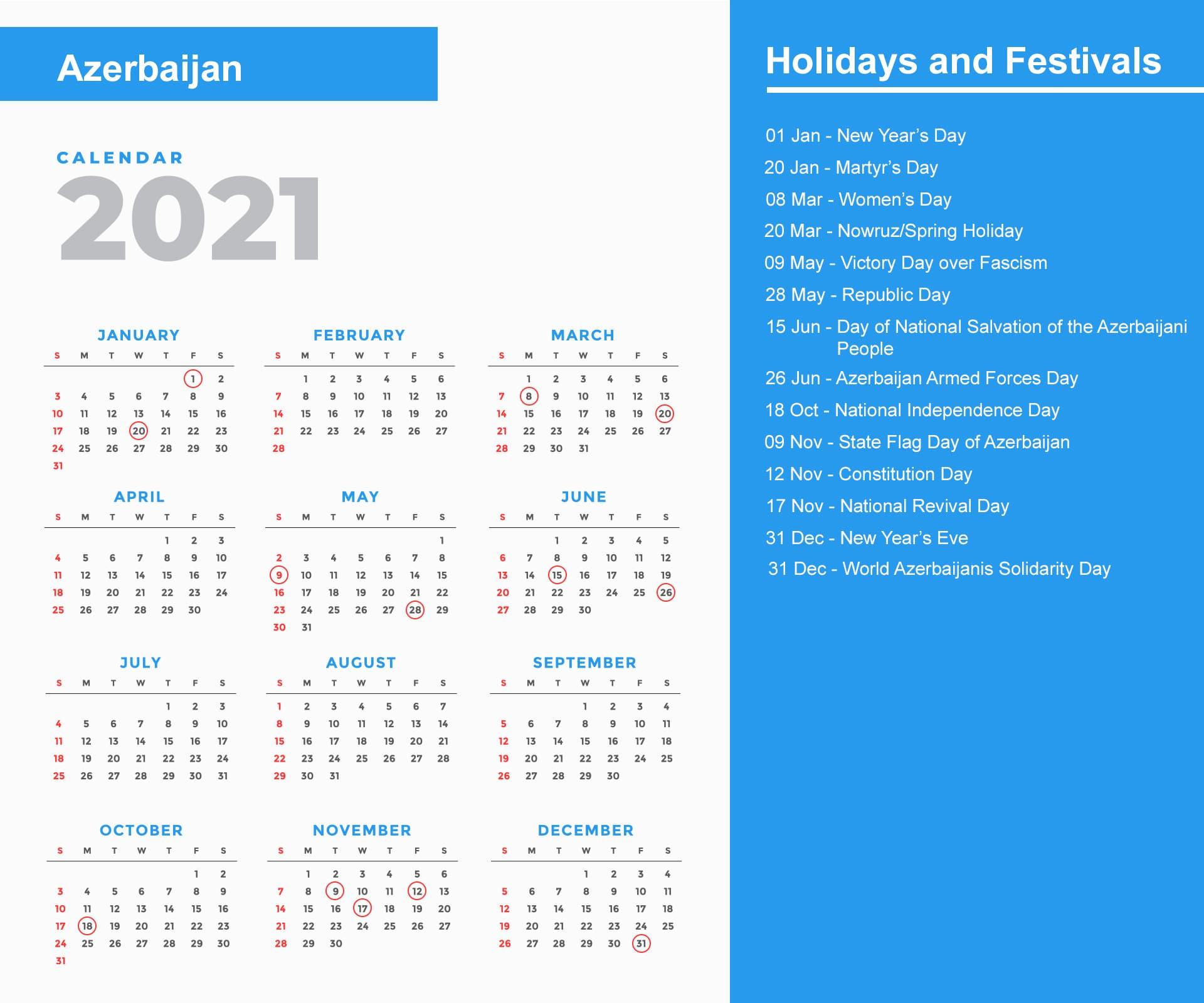 Azerbaijan Holidays 2021 And Observances 2021